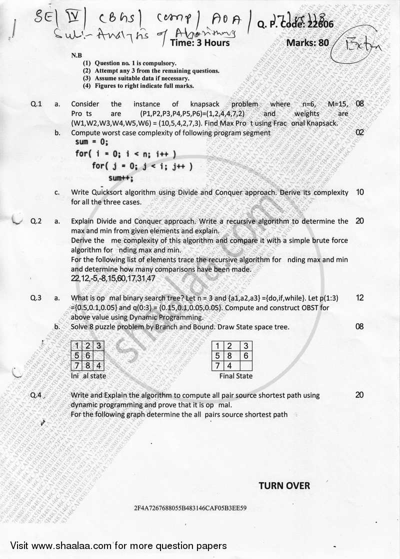 Question Paper - Analysis of Algorithm 2017-2018 - B.E. - Semester 4 (SE Second Year) - University of Mumbai with PDF download