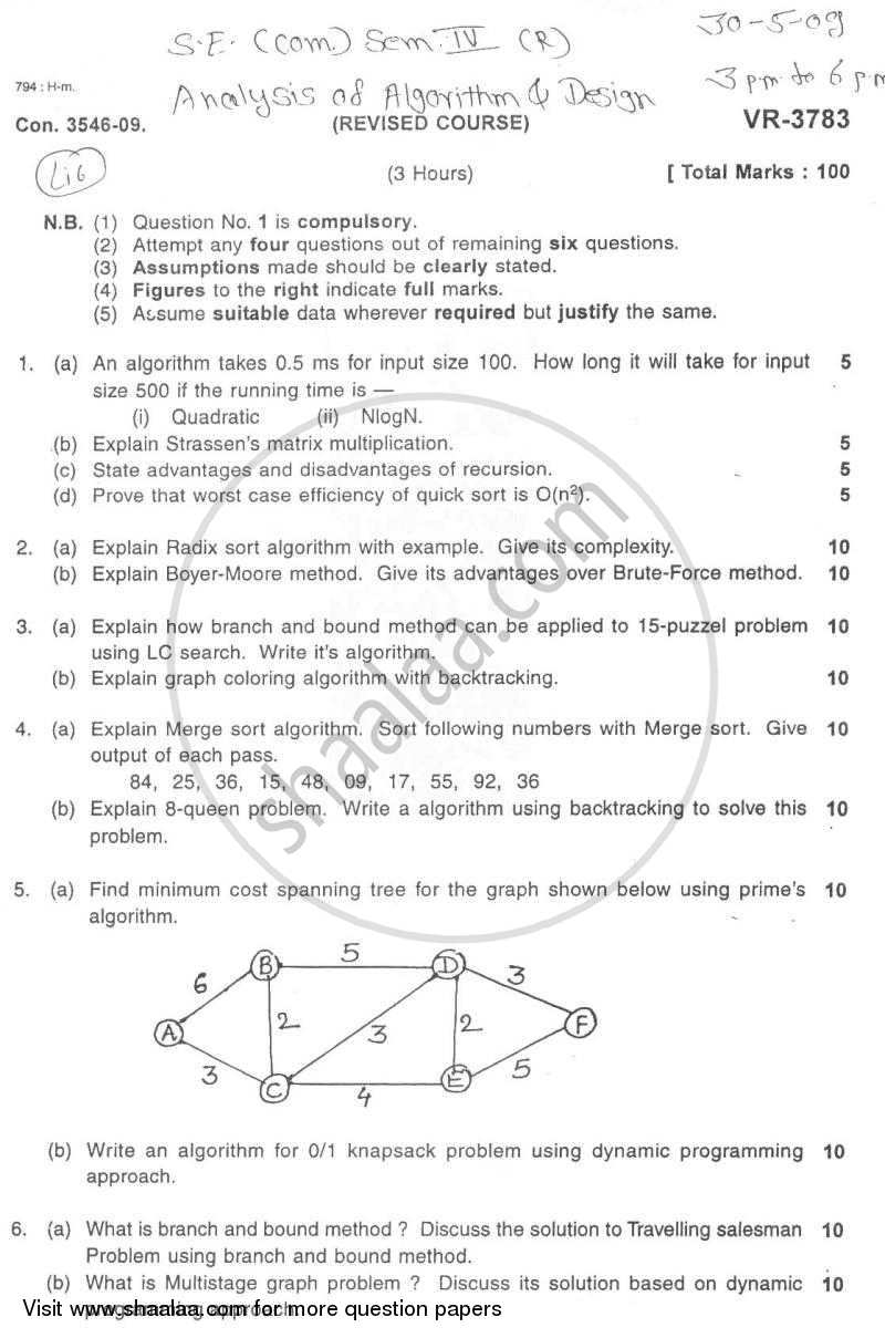 Question Paper - Analysis of Algorithm and Design 2008 - 2009 - B.E. - Semester 4 (SE Second Year) - University of Mumbai
