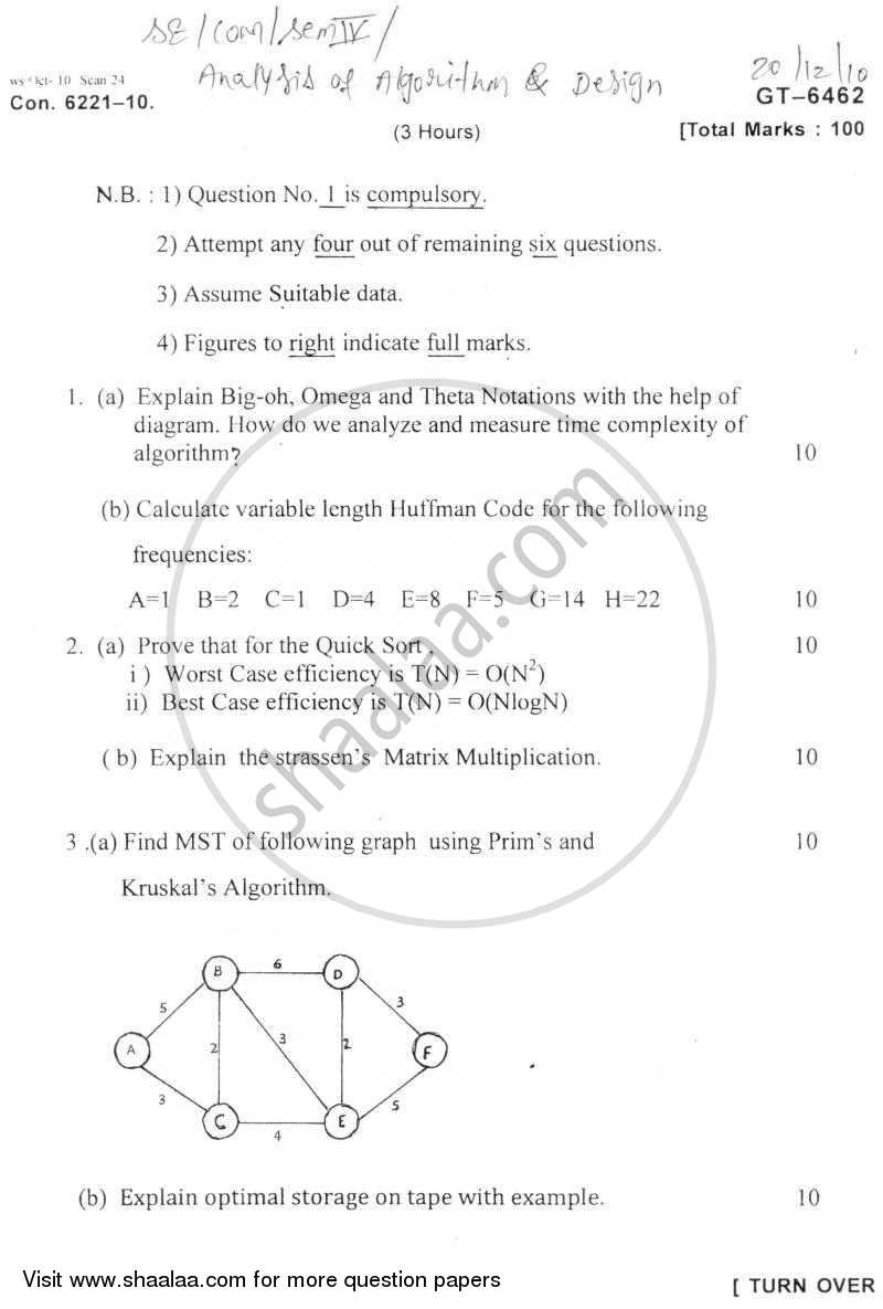 Question Paper - Analysis of Algorithm and Design 2010 - 2011 - B.E. - Semester 4 (SE Second Year) - University of Mumbai