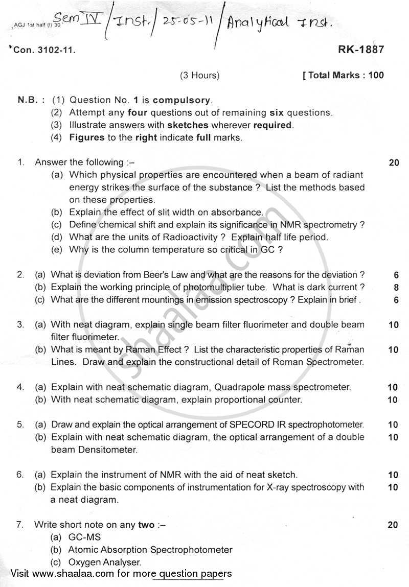 Question Paper - Analytical Instrumentation 2010 - 2011 - B.E. - Semester 6 (TE Third Year) - University of Mumbai