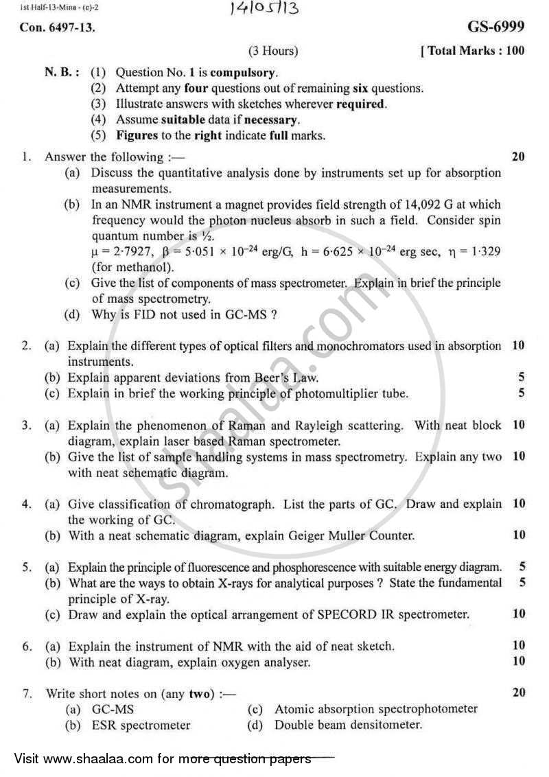 Question Paper - Analytical Instrumentation 2012-2013 - B.E. - Semester 6 (TE Third Year) - University of Mumbai with PDF download