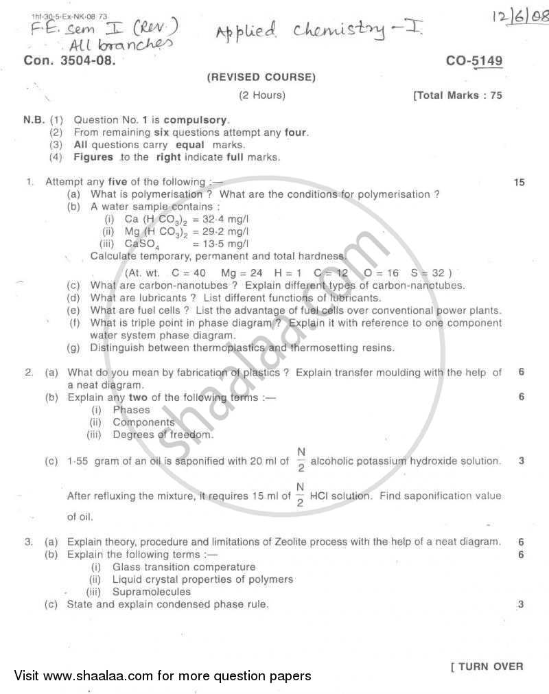 Question Paper - Applied Chemistry 1 2007 - 2008 - B.E. - Semester 1 (FE First Year) - University of Mumbai
