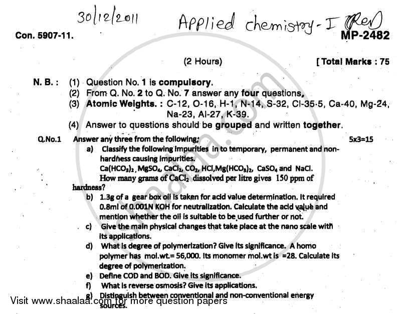 Question Paper - Applied Chemistry 1 2011 - 2012 - B.E. - Semester 1 (FE First Year) - University of Mumbai