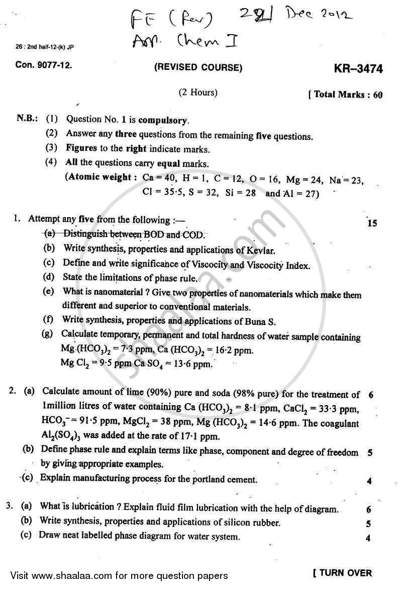 Question Paper - Applied Chemistry 1 2012 - 2013 - B.E. - Semester 1 (FE First Year) - University of Mumbai