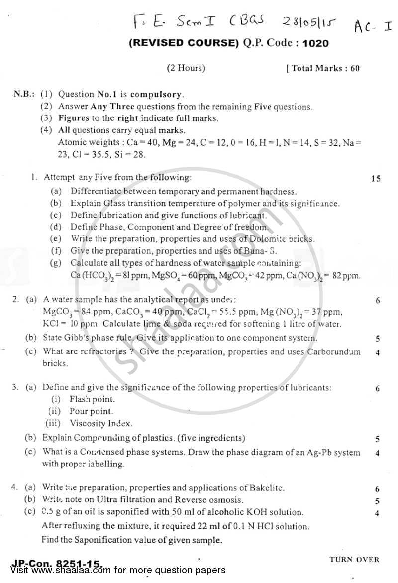 Question Paper - Applied Chemistry 1 2014 - 2015 - B.E. - Semester 1 (FE First Year) - University of Mumbai