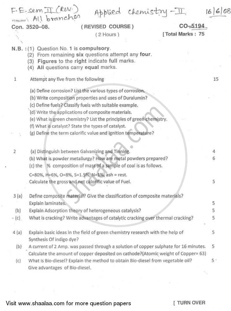 Question Paper - Applied Chemistry 2 2007 - 2008 - B.E. - Semester 2 (FE First Year) - University of Mumbai