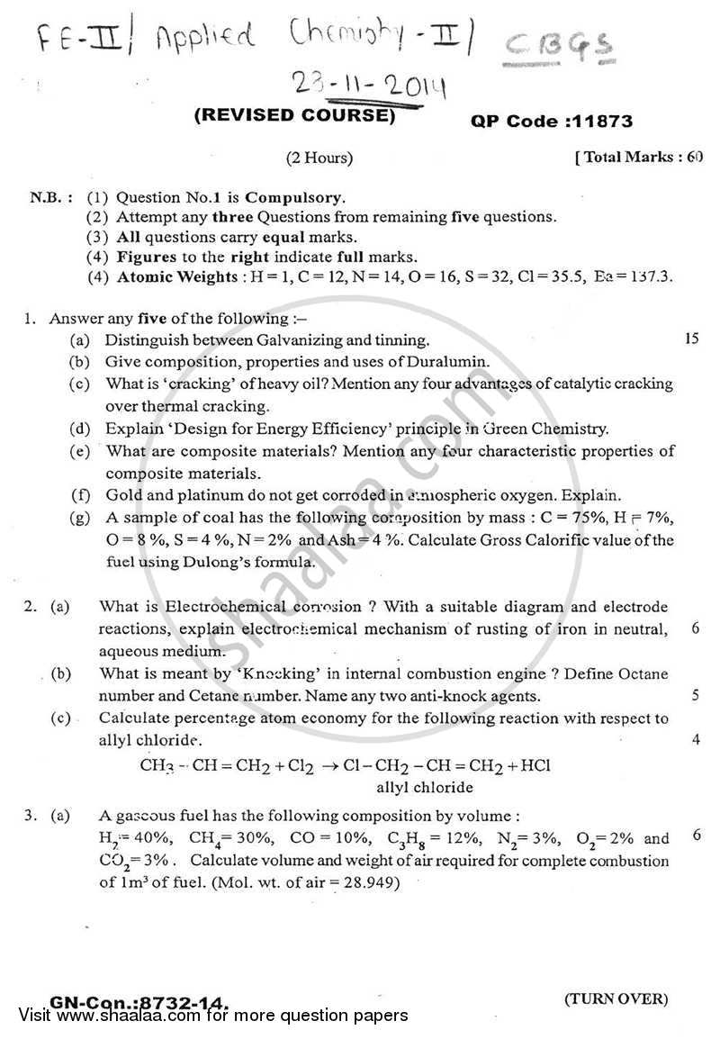 Question Paper - Applied Chemistry 2 2014 - 2015 - B.E. - Semester 2 (FE First Year) - University of Mumbai