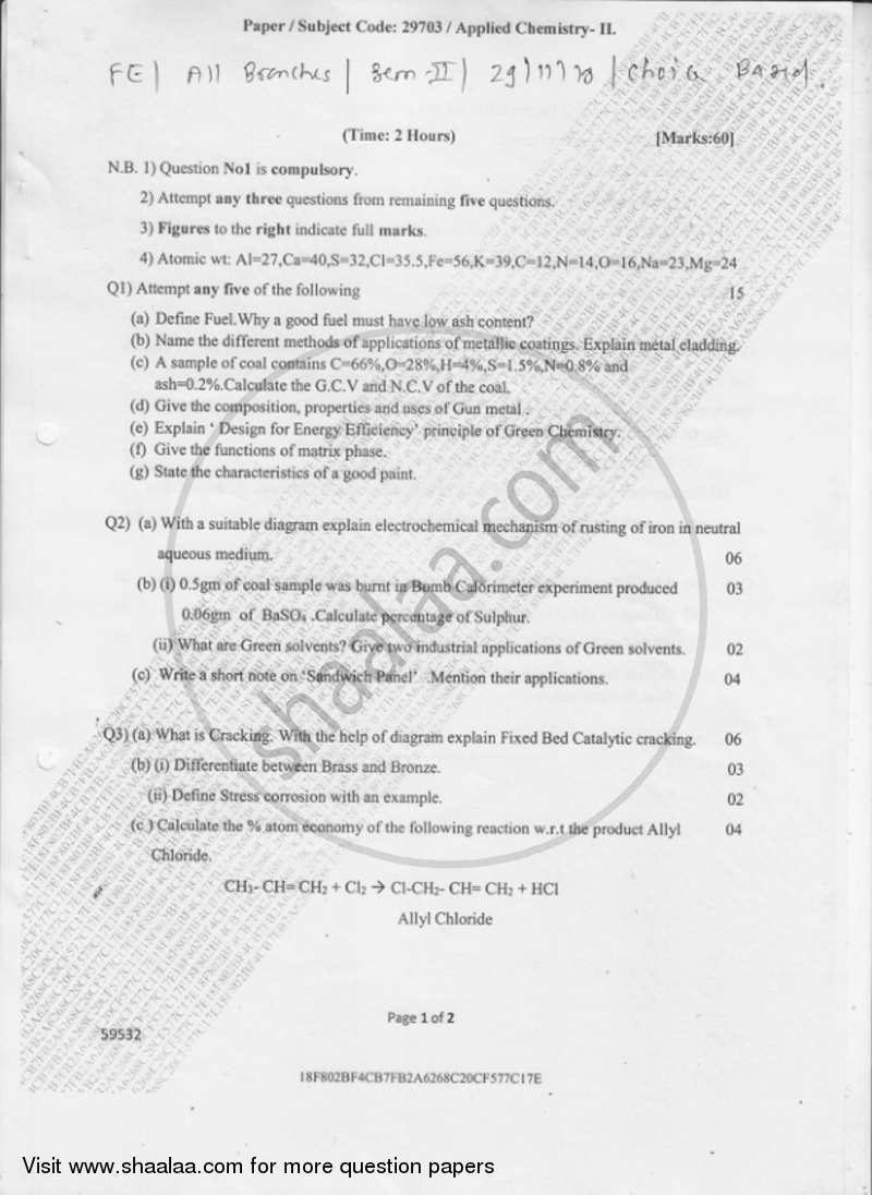 Question Paper - Applied Chemistry 2 2018-2019 - B.E. - Semester 2 (FE First Year) - University of Mumbai with PDF download