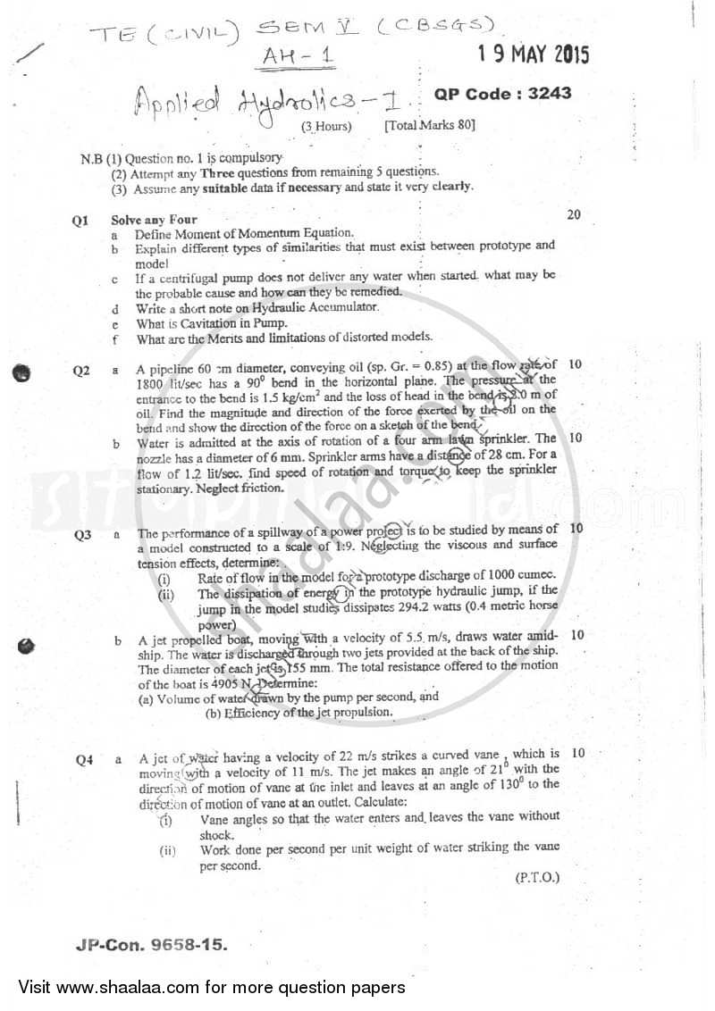 Question Paper - Applied Hydraulics 1 2014 - 2015 - B.E. - Semester 5 (TE Third Year) - University of Mumbai