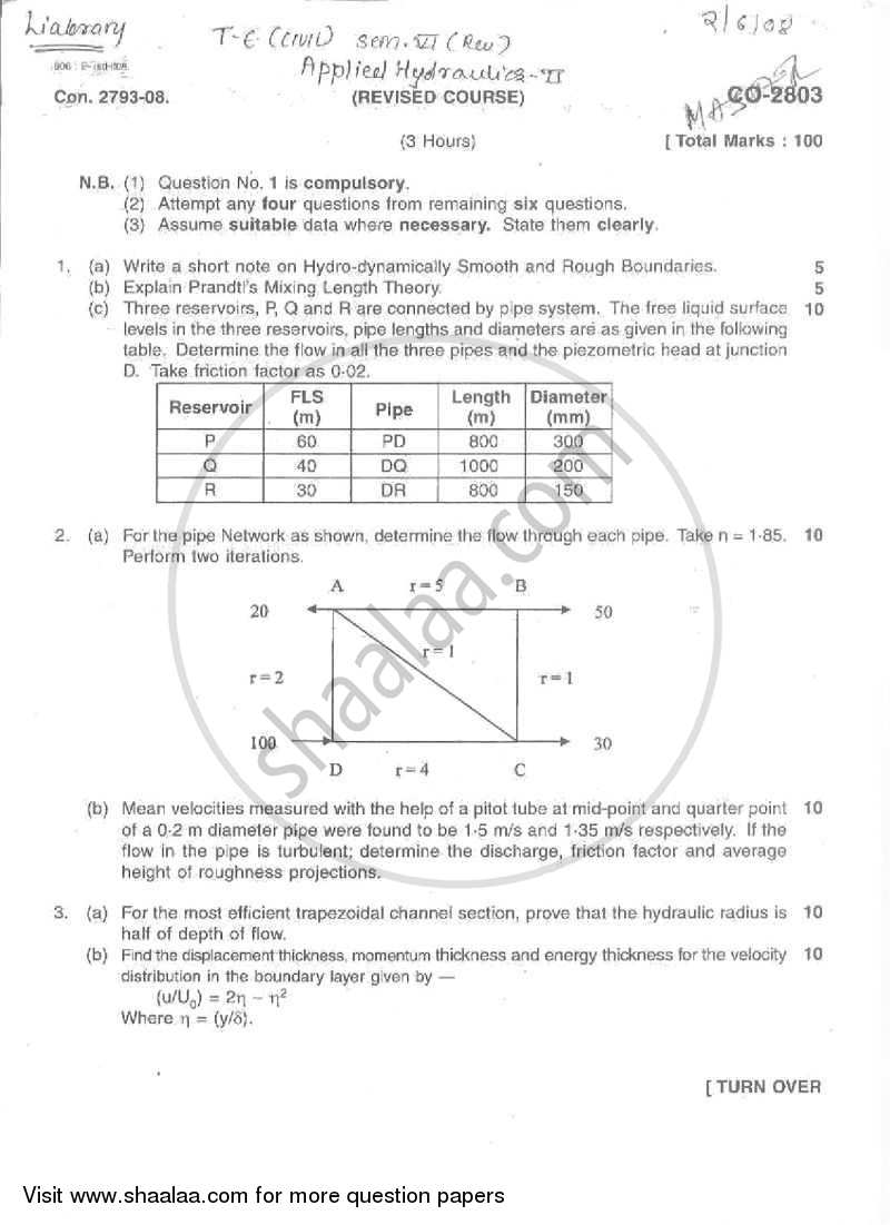 Question Paper - Applied Hydraulics 2 2007 - 2008 - B.E. - Semester 6 (TE Third Year) - University of Mumbai