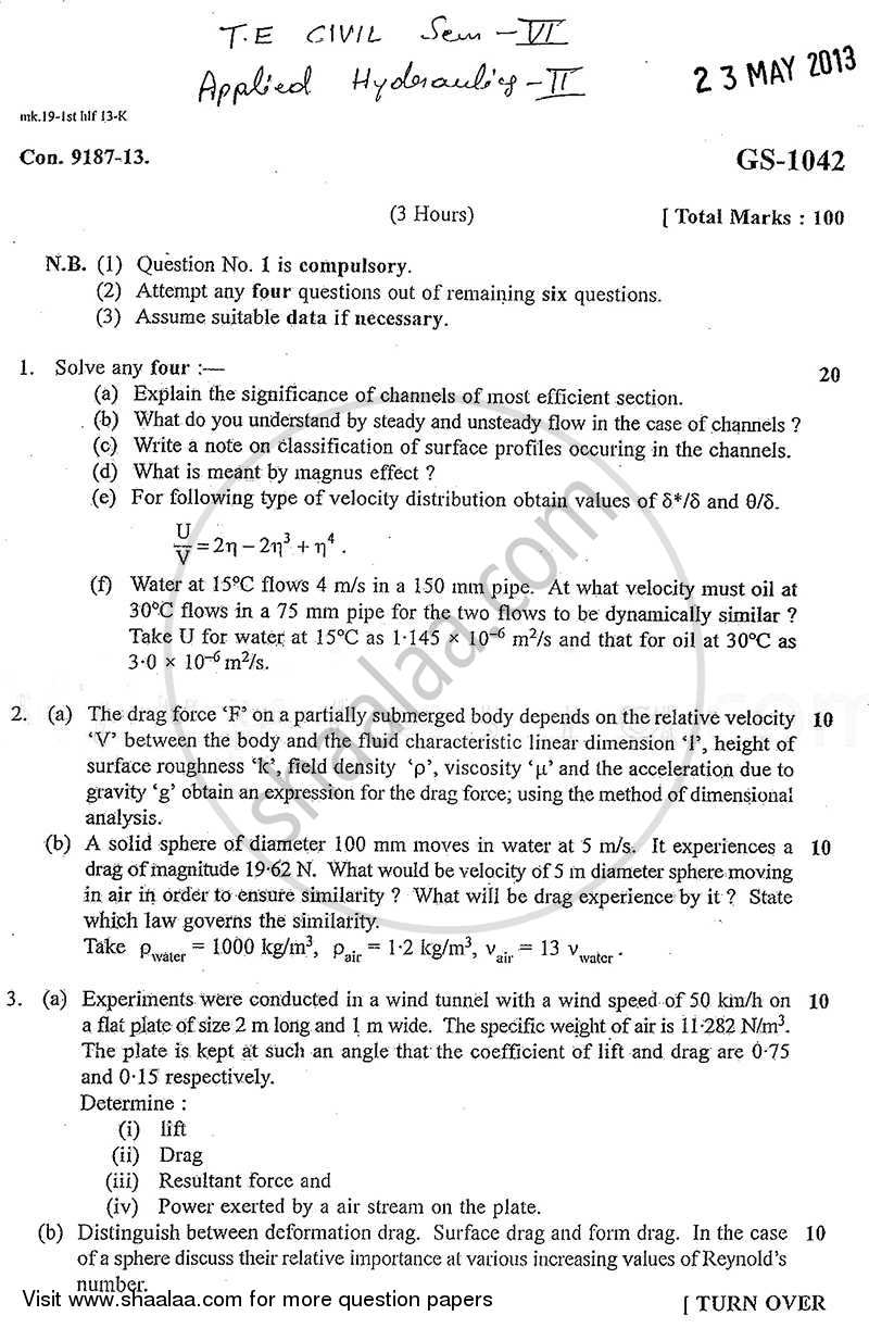 Question Paper - Applied Hydraulics 2 2012 - 2013 - B.E. - Semester 6 (TE Third Year) - University of Mumbai