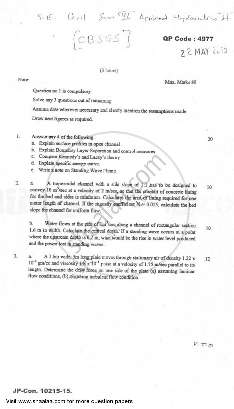 Question Paper - Applied Hydraulics 2 2014 - 2015-B.E.-Semester 6 (TE Third Year) University of Mumbai