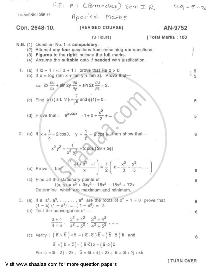 Question Paper - Applied Mathematics 1 2009 - 2010 - B.E. - Semester 1 (FE First Year) - University of Mumbai