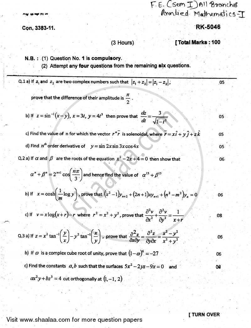 Question Paper - Applied Mathematics 1 2010 - 2011 - B.E. - Semester 1 (FE First Year) - University of Mumbai