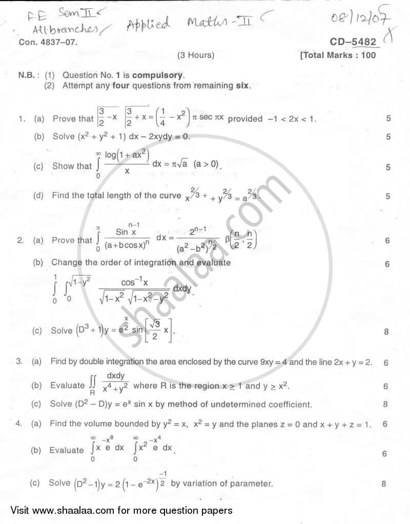 Applied Mathematics 2 2007-2008 - B.E. - Semester 2 (FE First Year) - University of Mumbai question paper with PDF download