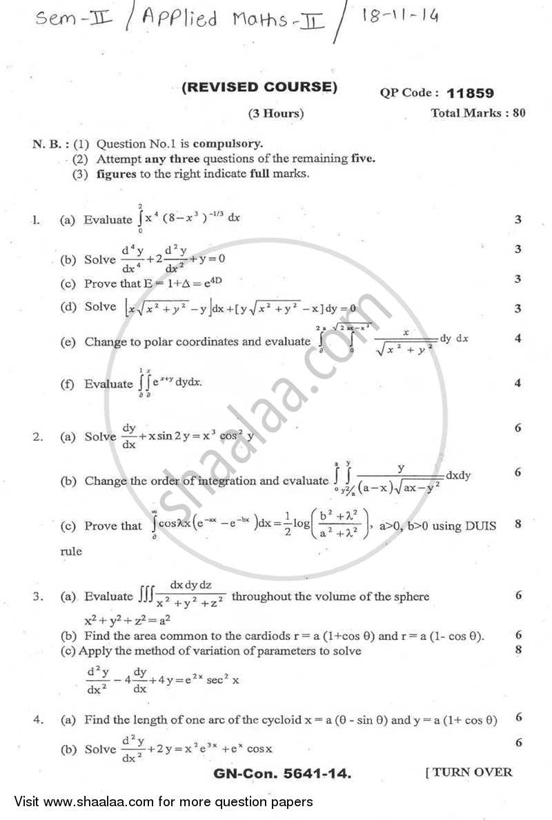 Question Paper - Applied Mathematics 2 2014-2015 - B.E. - Semester 2 (FE First Year) - University of Mumbai with PDF download