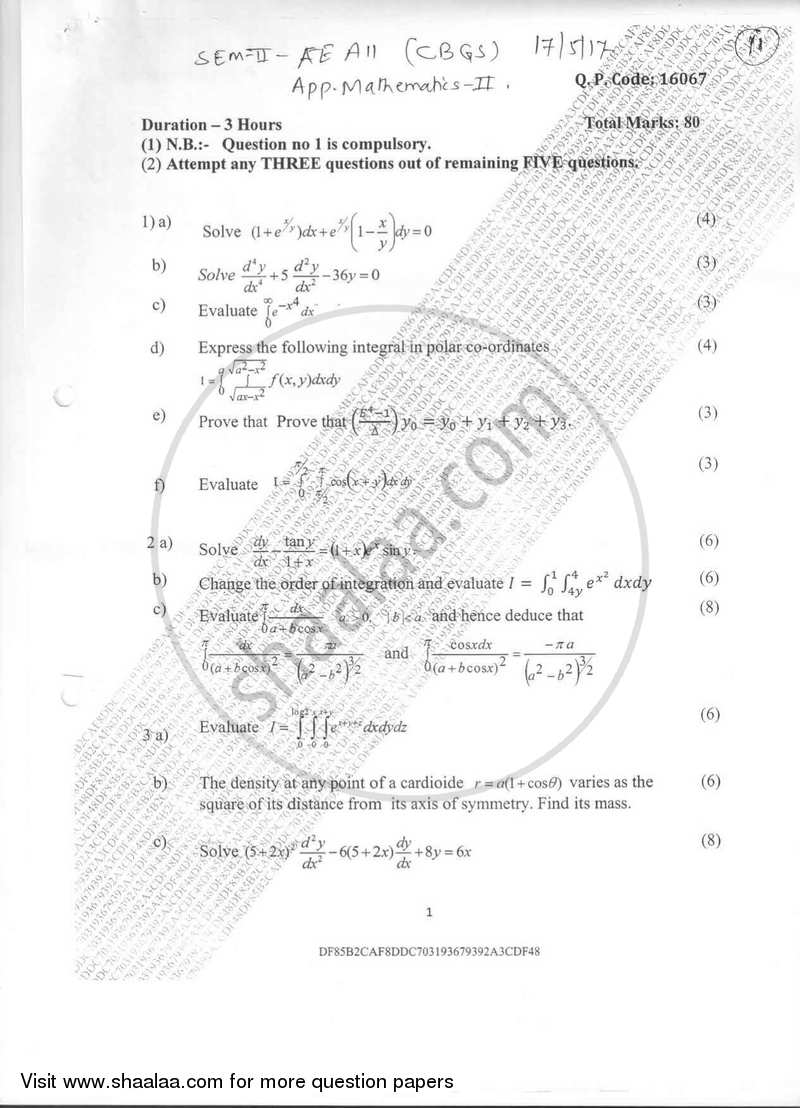 Question Paper - Applied Mathematics 2 2016-2017 - B.E. - Semester 2 (FE First Year) - University of Mumbai with PDF download