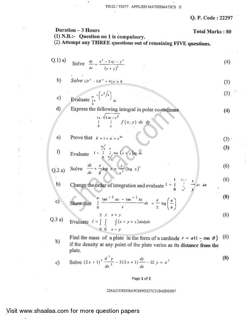 Question Paper - Applied Mathematics 2 2017-2018 - B.E. - Semester 2 (FE First Year) - University of Mumbai with PDF download