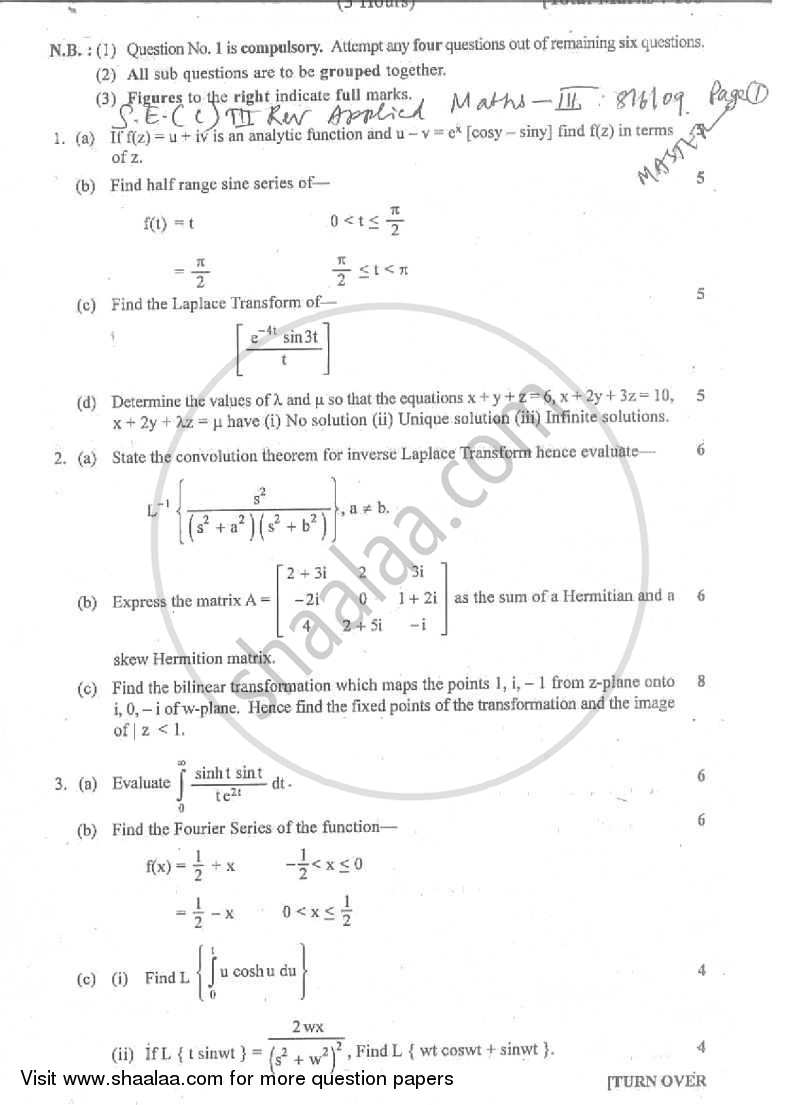Question Paper - Applied Mathematics 3 2008 - 2009 - B.E. - Semester 3 (SE Second Year) - University of Mumbai