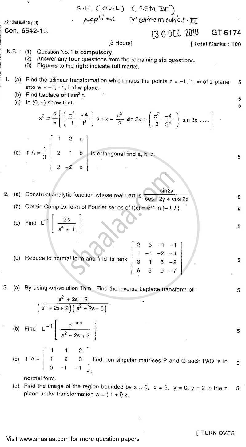 Question Paper - Applied Mathematics 3 2010 - 2011-B.E.-Semester 3 (SE Second Year) University of Mumbai