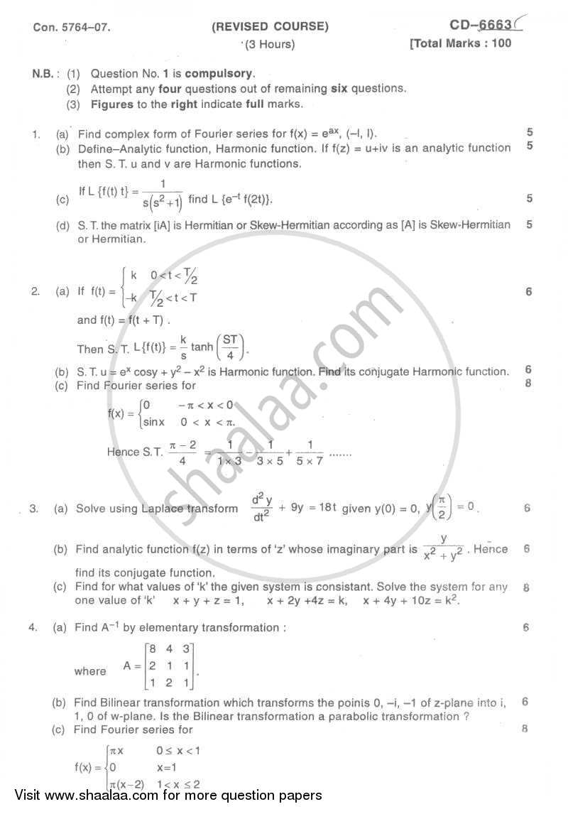 Question Paper - Applied Mathematics 3 2007 - 2008-B.E.-Semester 3 (SE Second Year) University of Mumbai