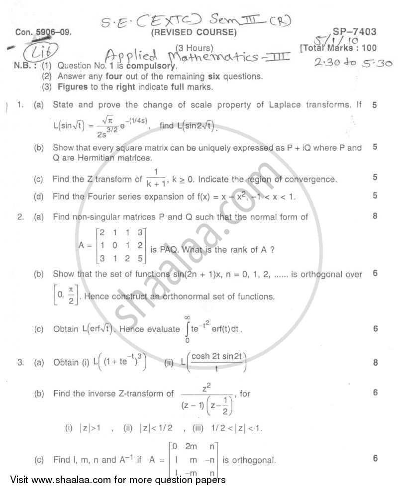Question Paper - Applied Mathematics 3 2009 - 2010 - B.E. - Semester 3 (SE Second Year) - University of Mumbai