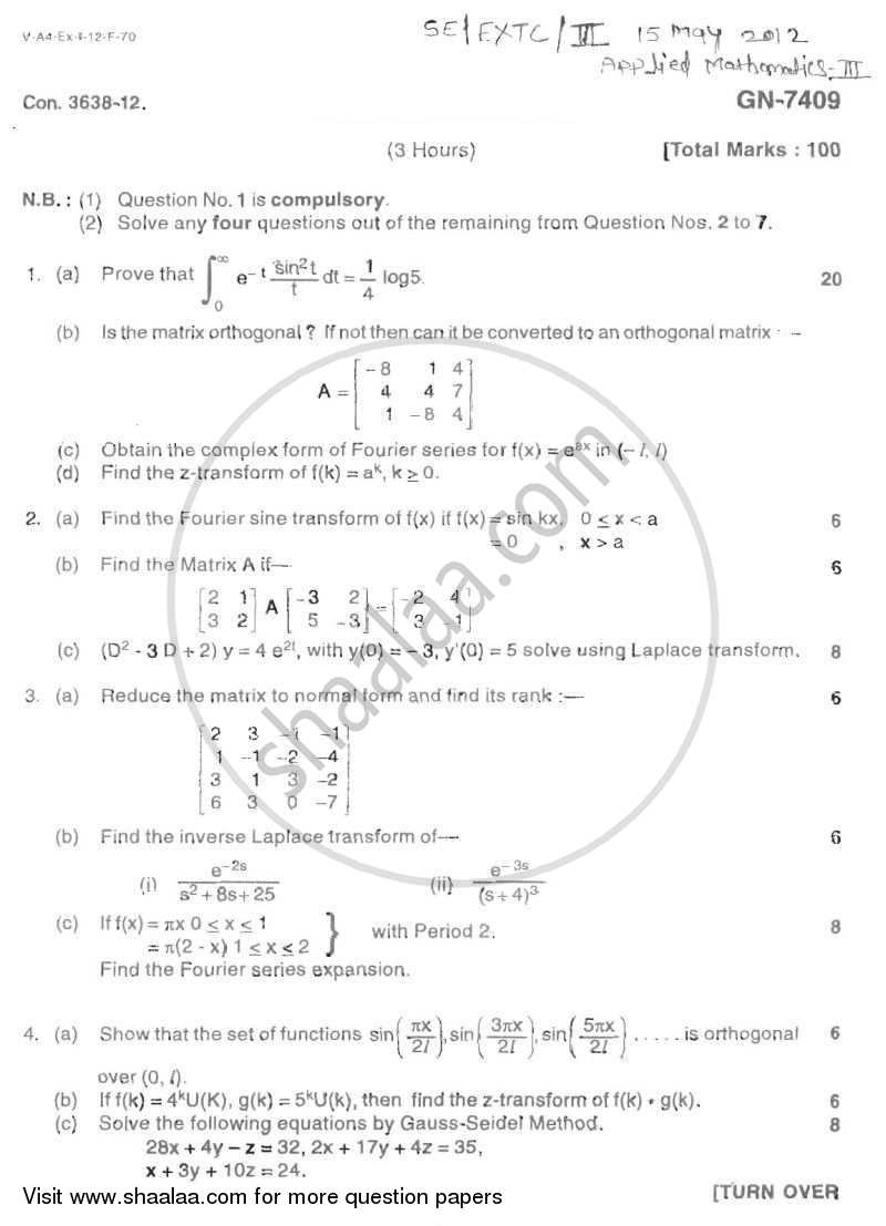 Applied Mathematics 3 2011-2012 - B.E. - Semester 3 (SE Second Year) - University of Mumbai question paper with PDF download