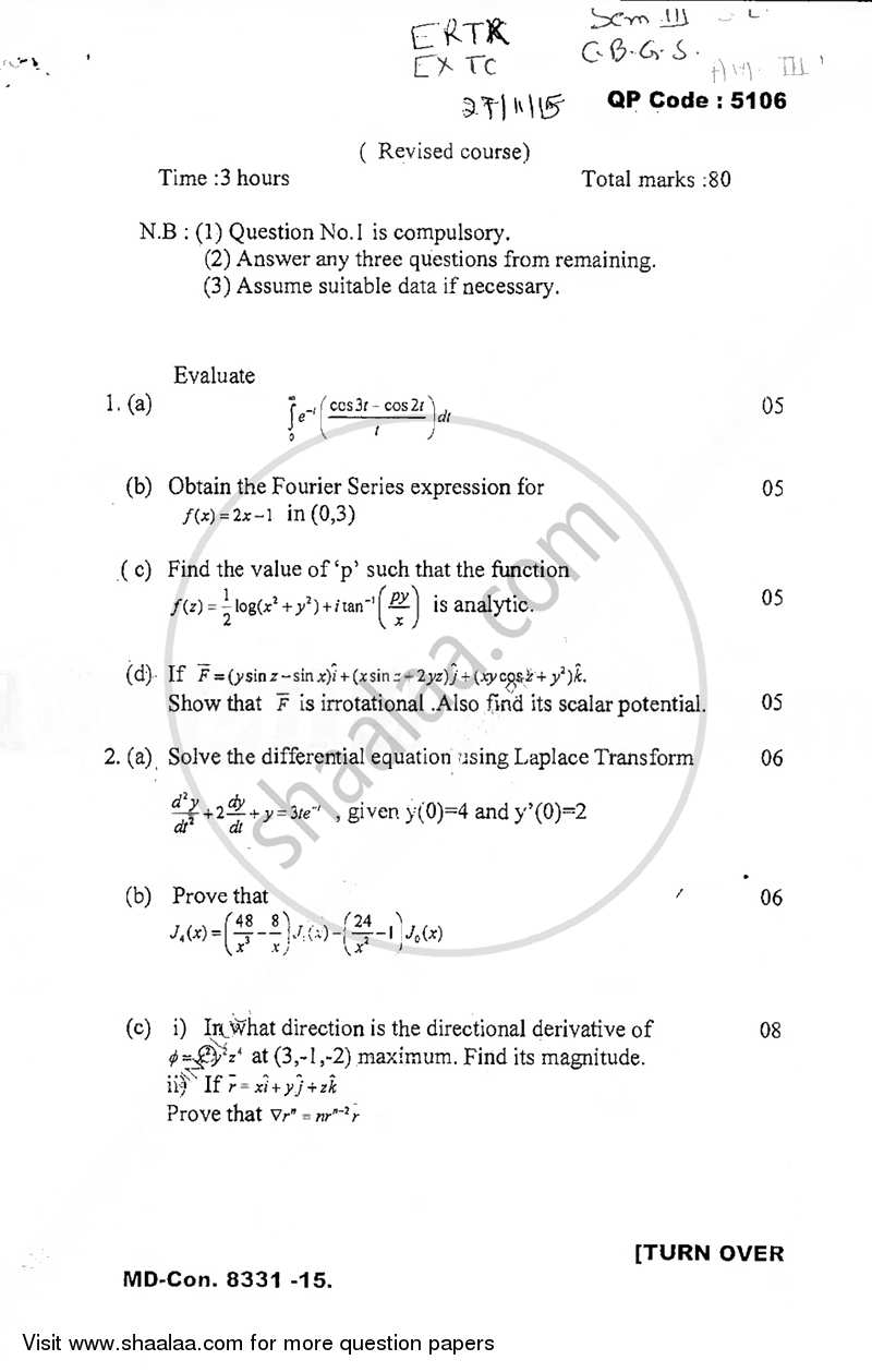 Question paper applied mathematics 3 2015 2016 be question paper applied mathematics 3 2015 2016 be semester 3 se malvernweather Images