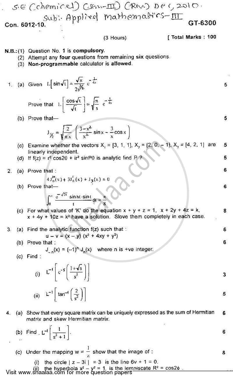 Question Paper - Applied Mathematics 3 2010 - 2011 - B.E. - Semester 3 (SE Second Year) - University of Mumbai