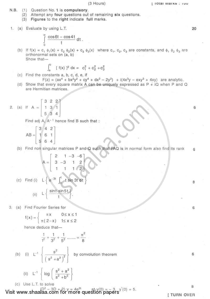 Question Paper - Applied Mathematics 3 2007 - 2008 - B.E. - Semester 3 (SE Second Year) - University of Mumbai