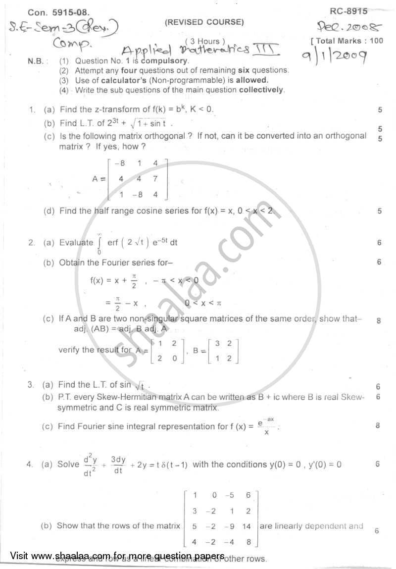 Applied Mathematics 3 2008-2009 - B.E. - Semester 3 (SE Second Year) - University of Mumbai question paper with PDF download