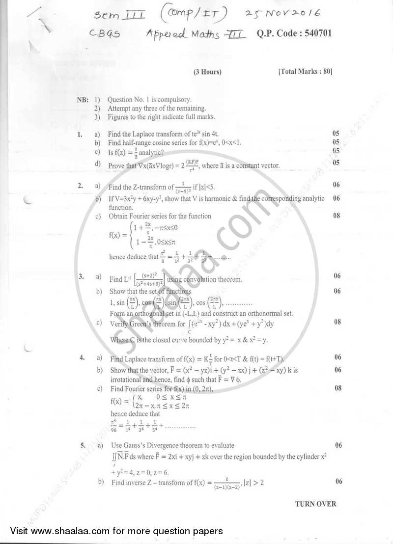 Question Paper - Applied Mathematics 3 2016-2017 - B.E. - Semester 3 (SE Second Year) - University of Mumbai with PDF download