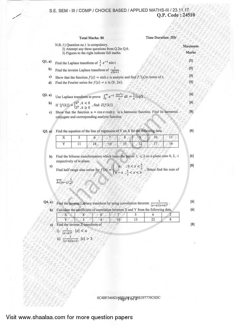 Question Paper - Applied Mathematics 3 2017-2018 - B.E. - Semester 3 (SE Second Year) - University of Mumbai with PDF download