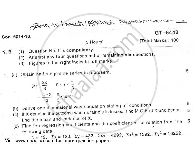 Applied Mathematics 4 2010-2011 - B.E. - Semester 4 (SE Second Year) - University of Mumbai question paper with PDF download