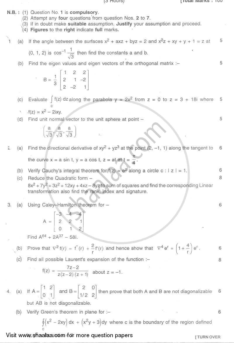 Question Paper - Applied Mathematics 4 2007 - 2008 - B.E. - Semester 4 (SE Second Year) - University of Mumbai