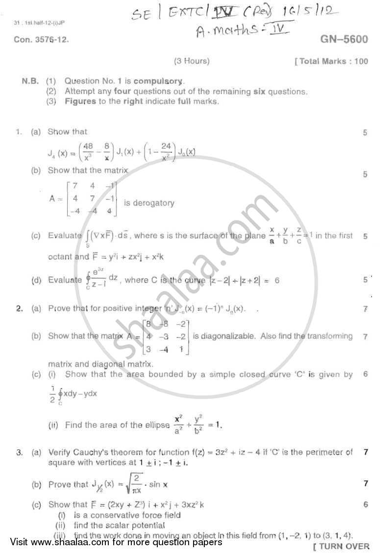 Applied Mathematics 4 2011-2012 - B.E. - Semester 4 (SE Second Year) - University of Mumbai question paper with PDF download