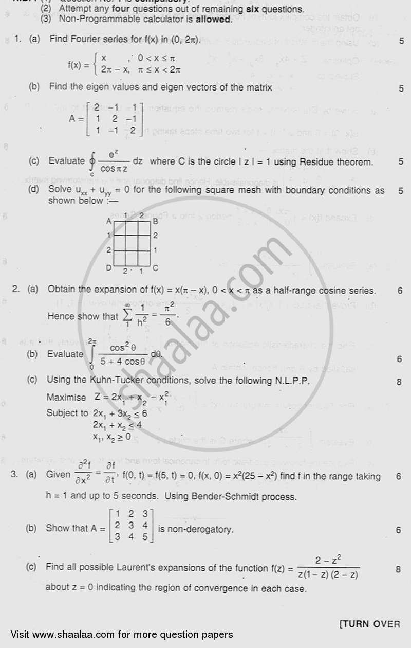 Question Paper - Applied Mathematics 4 2011-2012 - B.E. - Semester 4 (SE Second Year) - University of Mumbai with PDF download