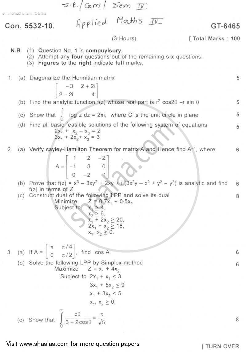Question Paper - Applied Mathematics 4 2010 - 2011 - B.E. - Semester 4 (SE Second Year) - University of Mumbai
