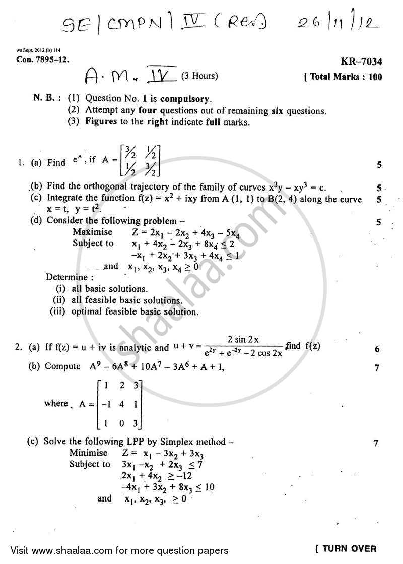 Question Paper - Applied Mathematics 4 2012-2013 - B.E. - Semester 4 (SE Second Year) - University of Mumbai with PDF download