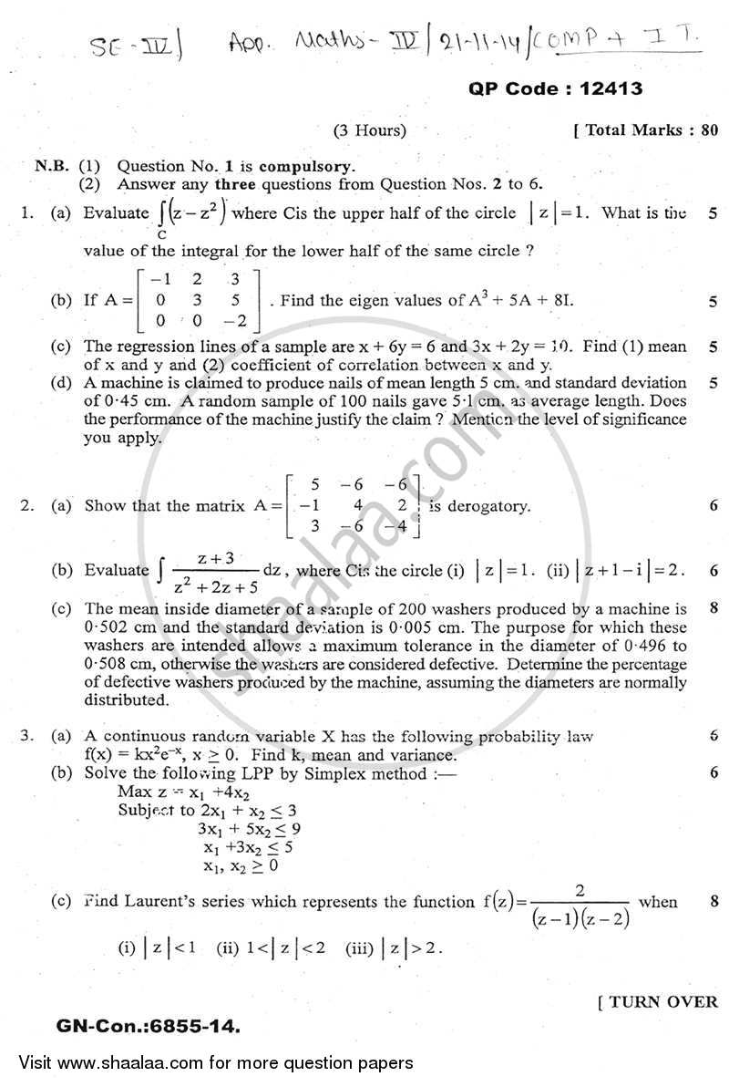 Applied Mathematics 4 2014-2015 - B.E. - Semester 4 (SE Second Year) - University of Mumbai question paper with PDF download