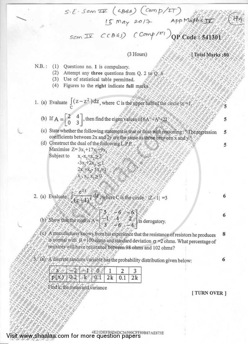 Question Paper - Applied Mathematics 4 2016-2017 - B.E. - Semester 4 (SE Second Year) - University of Mumbai with PDF download