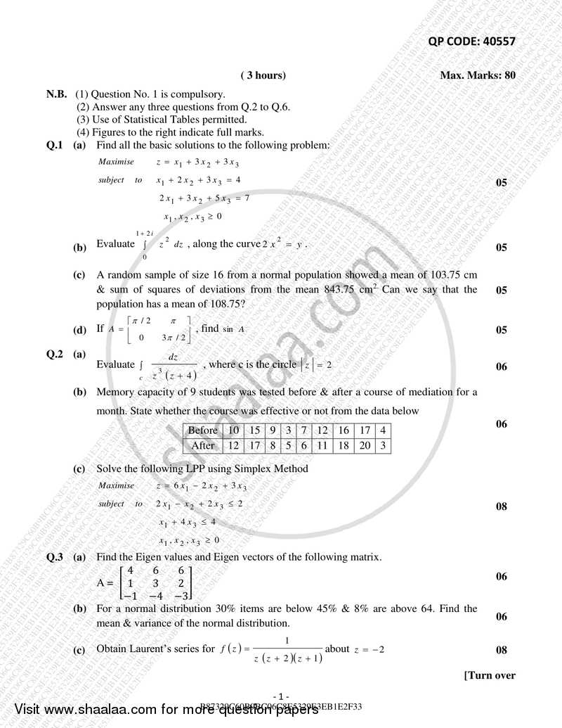 Applied Mathematics 4 2017-2018 - B.E. - Semester 4 (SE Second Year) - University of Mumbai question paper with PDF download
