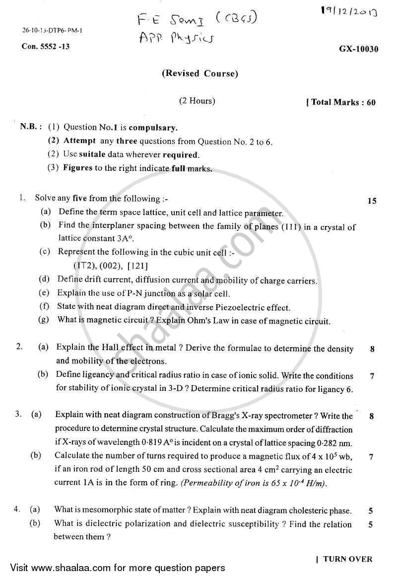 Question Paper - Applied Physics 1 2013 - 2014 - B.E. - Semester 1 (FE First Year) - University of Mumbai