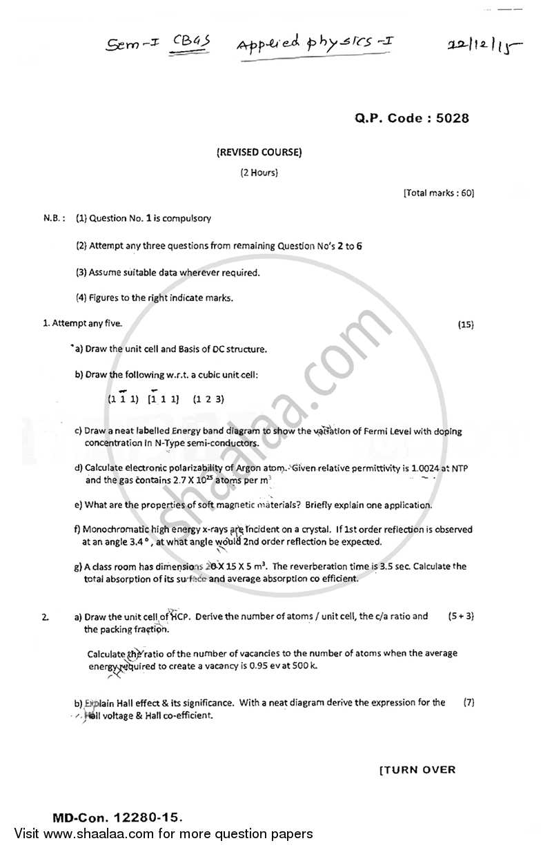 Question Paper - Applied Physics 1 2015 - 2016 - B.E. - Semester 1 (FE First Year) - University of Mumbai