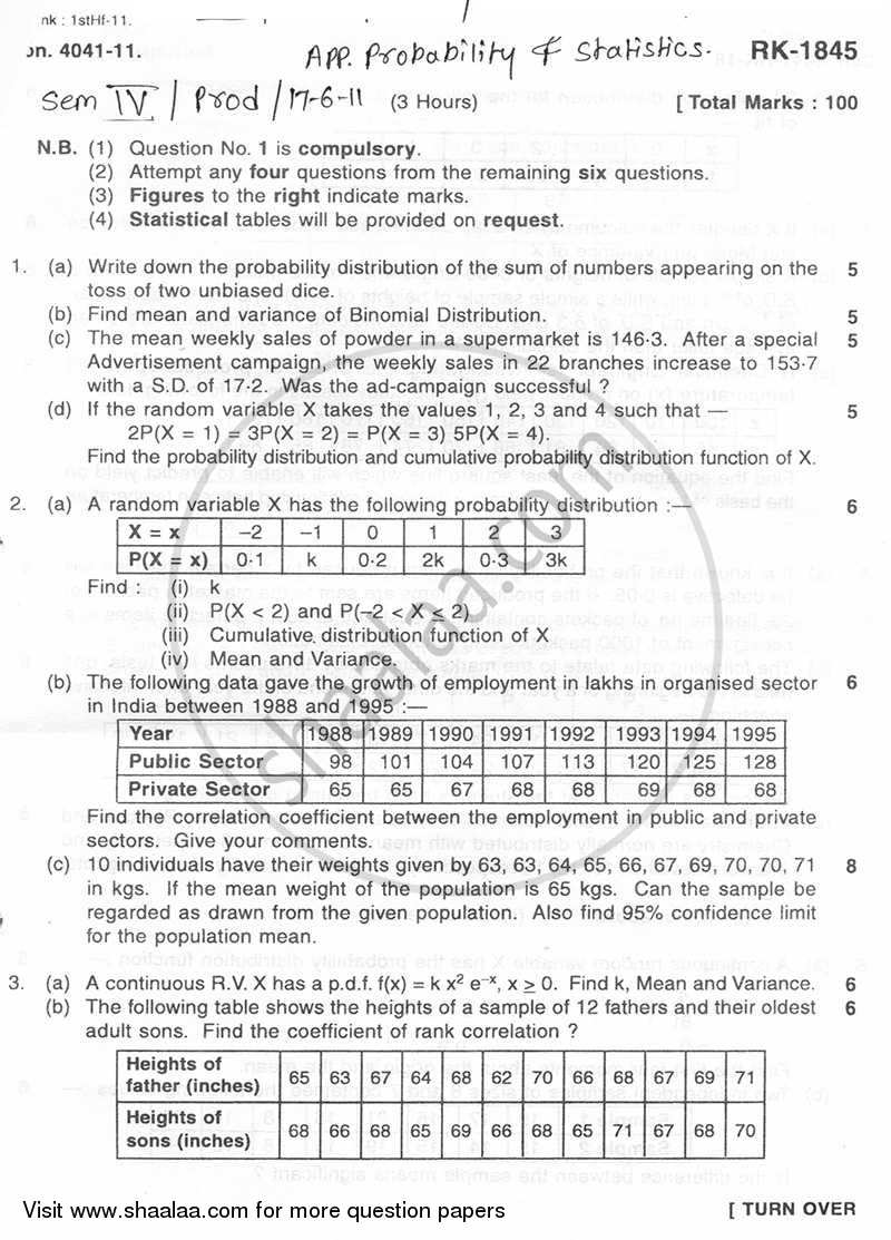 Question Paper - Applied Probability and Statistics 2010 - 2011 - B.E. - Semester 4 (SE Second Year) - University of Mumbai