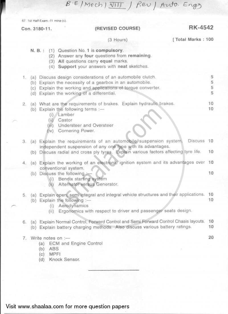 Question Paper - Automobile Engineering 2010 - 2011 - B.E. - Semester 8 (BE Fourth Year) - University of Mumbai