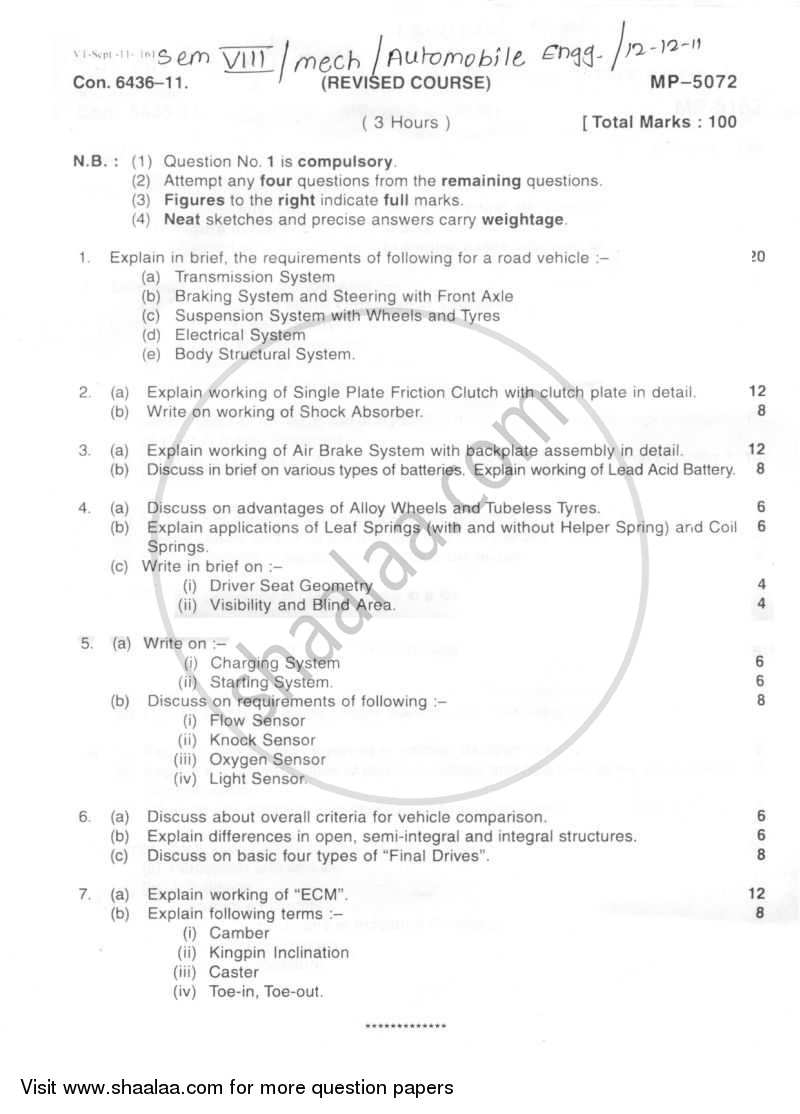 Question Paper - Automobile Engineering 2011 - 2012 - B.E. - Semester 8 (BE Fourth Year) - University of Mumbai
