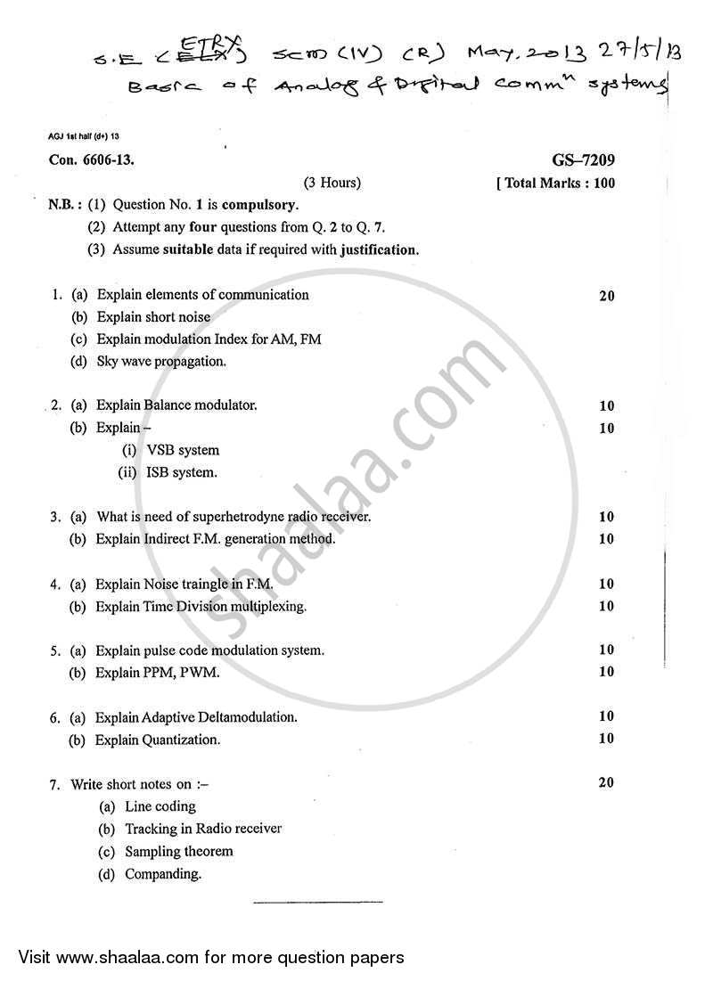Basic of Analog and Digital Communication Systems 2012-2013 - B.E. - Semester 4 (SE Second Year) - University of Mumbai question paper with PDF download