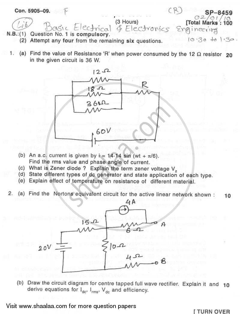 Question Paper - Basic Electrical and Electronics Engineering 2009 - 2010 - B.E. - Semester 1 (FE First Year) - University of Mumbai
