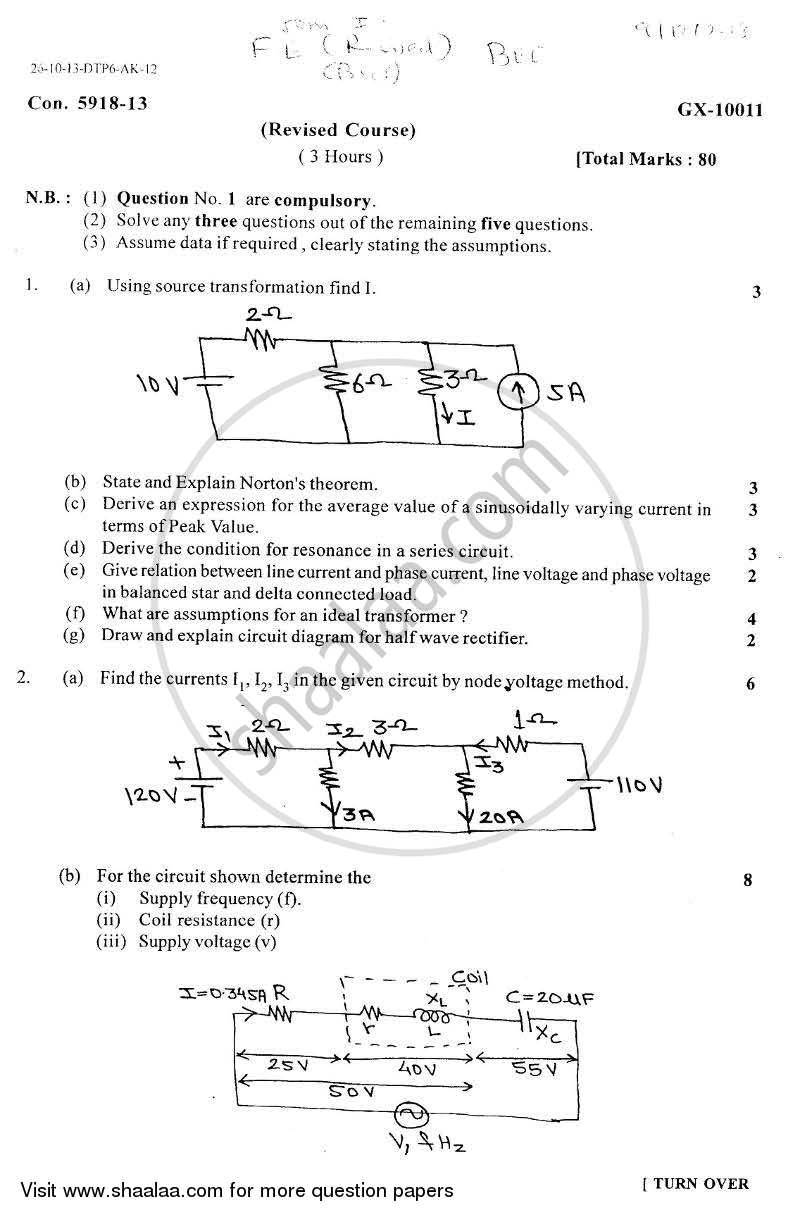 Basic Electrical and Electronics Engineering 2013-2014 - B.E. - Semester 1 (FE First Year) - University of Mumbai question paper with PDF download